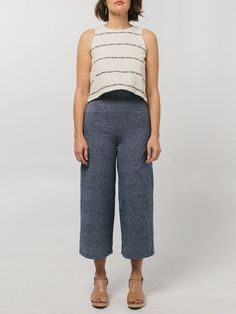 New ethical fashion brand.   A cropped high waisted pant with a zipper back and side pockets. =
