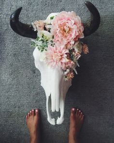 Pink Floral Decorated Cow Skull by RoseAndRoyce on Etsy