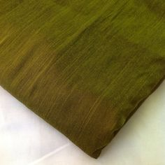 Silk Fabric  Indian Silk in Olive Green  Cotton by DesiFabrics