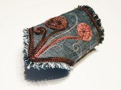 Bohemian bracelet Jeans cuff Denim textile jewelry by SKMODELL, $21.00