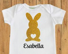 Easter Bunny with heart Bodysuit, personalized easter shirt, baby girl first easter outfit, baby easter onesie, easter bodysuit for girl by UnordinaryToddler on Etsy https://www.etsy.com/listing/270205230/easter-bunny-with-heart-bodysuit