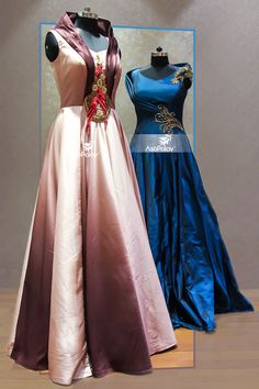 Enchanting looks guaranteed! #DesignerGowns #BeSpoke #BridesToBe #BridalGowns #DesignerCollection #Granduer #Royal #elegance #elegantmotifs #ElegantBridalWear #Indianweddings #Indianfashion #BigFatIndianWeddings #Bridalwear #BridalElegance #NewGenerationBrides #IndianEthnicWear #bridalboutique #bridalinspiration #NRIBrides Western Dresses, Indian Dresses, Satin Dresses, Bridal Dresses, Pretty Dresses, Amazing Dresses, Frocks And Gowns, Types Of Dresses, India Fashion