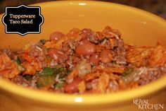 """Tupperware Taco Salad Recipe - I grew up with this salad, delicious, didn't realize """"tupperware"""" originated it. Still make it occasionally. The cheese gets melty....mmmmmm....."""