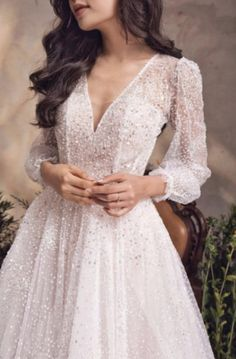 Sparkly A-line Wedding Dress, Long Sleeve Bridal Gown, Open Back, V-neck for Glamorous Bride - Long Sleeve Wedding Dresses Aline Wedding Dress Lace, Wedding Dress With Pockets, V Neck Wedding Dress, Sweetheart Wedding Dress, Long Wedding Dresses, Long Sleeve Wedding, Bridal Dresses, Long Gowns, Long Sleeve Gown
