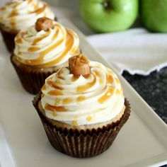 Apple Cinnamon Cupcakes with Salted Caramel Buttercream Frosting from Kim @rusticgardenbistro
