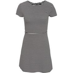 New Look Stripe Texture C/S Skater (190 BRL) ❤ liked on Polyvore featuring dresses, stripes, white, womens-fashion, white day dress, white textured dress, white striped dress, striped dress and striped skater dress