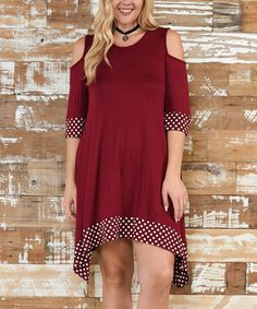 Love this Burgundy Polka Dot Trim Cold-Shoulder Dress - Plus on #zulily…