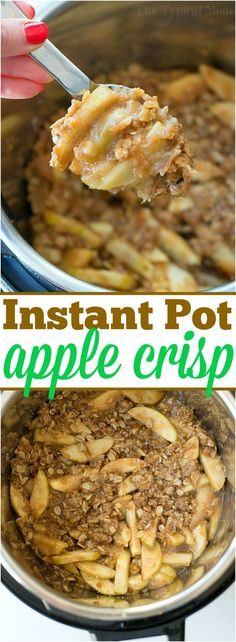 This Instant Pot apple crisp recipe is amazing! Tastes like copycat Cracker Barrel baked apples we love but made in less than 20 minutes total. Warm cinnamon apples coated with a ooey gooey brown sugar glaze your family will go crazy over for sure. Try this homemade pressure cooker fruit dessert this week! #instantpot #pressurecooker #apples #applecrisp #baked #dessert #pie