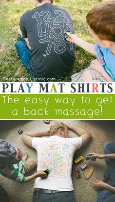 Essa camiseta é boa para quando os pais precisam cuidar dos filhos e receber uma massagem ao mesmo tempo!