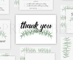 Botanical Wedding Thank You Card Printable Stationery Design, Wedding Stationery, Diy Wedding, Wedding Day, Wedding Printable, Botanical Wedding, Wedding Thank You Cards, Botanical Prints, Etsy Shop