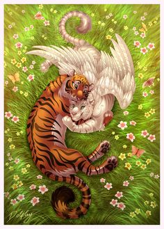 Tiger Embrace by DolphyDolphiana on DeviantArt - Pets Arte Furry, Furry Art, Big Cats Art, Cat Art, Mythical Creatures Art, Fantasy Creatures, Cute Animal Drawings, Cute Drawings, Tiger Art