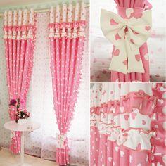 Kinderzimmer Mädchen rosa Gardinen mit Herznmuster