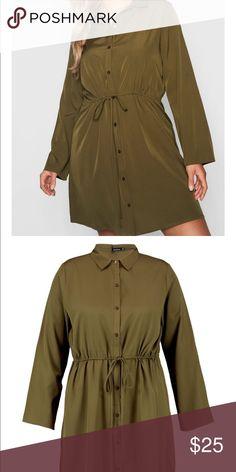 b8bffc774368 Boohoo Plus Drawstring Waist Shirt Dress ✨ beautiful olive color dress ✨can  be dressed up