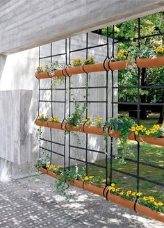 pipes used as a vertical garden