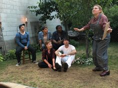 "Francis Flute with the Mechanicals in On the Square Productions ""A Midsummer Night's Dream."""