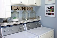 glass jars for detergent storage..love shelf above the washer and dryer