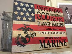 16x20 wooden flag painted, distressed and antiqued with vinyl overlay. Top coat is applied and hanger will be placed onto unfinished back. Please note that due to the differences in the wood grain and hand made nature of each sign, yours will vary slightly form the picture. There may be