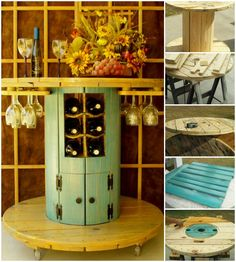 How to Turn an Old Wire #Spool Into a #Beautiful Wine #Table - DIY & Crafts