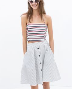 skirt for casual   ZARA - TRF - STRIPED CROP TOP WITH SIDE GATHERING