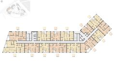 """Multifunctional residential complex on the territory of the plant """"Filykrovlya"""". Typical floor plan (house Project, 2015 © Archimatics Source by littlefieldloga Hotel Design Architecture, Modern Residential Architecture, Residential Complex, Commercial Architecture, Design Hotel, Facade Architecture, Hotel Floor Plan, Apartment Floor Plans, Landscape Plans"""