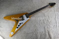 227.49$  Buy here - http://ali5dm.shopchina.info/1/go.php?t=32808482742 - Free shipping 2014 High quality Wood color guitar EMG pick-up flying V type electric guitar 227.49$ #buyonlinewebsite