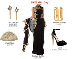 Black and gold is a failsafe colour combination when it comes to dressing up. Embellished Heels, Color Combinations, Festive, Dress Up, Things To Come, Women Wear, Sari, Ootd, Gowns