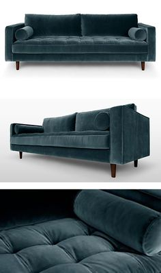the Sven sofa with its tufted bench seat draws inspiration from the mid century era. Upholstered in sumptuous Velvet offered in Grass Green, Pacific Blue and Shadow Gray.==