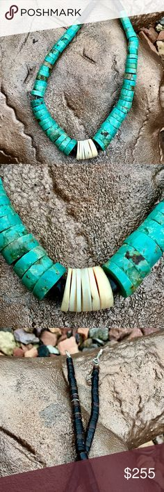 "Vintage Hand rolled Turquoise Shell Heishi Neclace 21"" Long with Sterling hook & eye closure, Turquoise ranges from 9-15mm in diameter, & is in 2- 5.5"" Sections. Ends are brown Heishi, 4.25"" long at each end, center has 2 Heishi Beads and .75"" of White Shell Disks. Beautiful!! Native American Jewelry Necklaces"