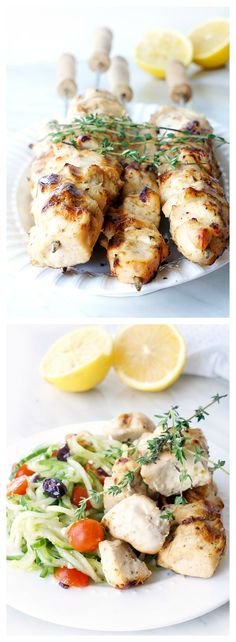 These grilled lemon garlic chicken kabobs are a healthy and flavourful source of protein that have a tasty Greek flair! Pair it with a whole-grain pita, roasted potatoes, brown rice or with a nice salad for a refreshing and light summertime meal that requires minimal prep and clean up. {Gluten-free & Paleo} | Haute & Healthy Living