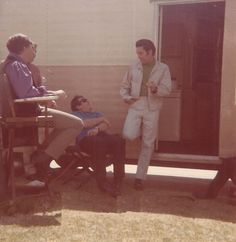 "March 1968 candid, on location in Los Angeles during the filming of ""Live A Little, Love A Little.""  Best guess of people in the photo  L-R: Unknown, Alan Fortas, Joe Esposito, Elvis"