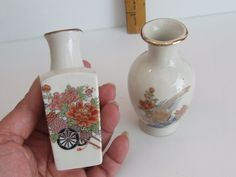 Asian Vase, Vintage Asian Vases, Miniature Vase, Two Vases, White Vases, Floral Vase, Vase Miniature, Gift for her, Home Decor, Shelf Decor by BeautyMeetsTheEye on Etsy
