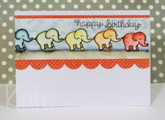 Lawn Fawn - Love You Tons, Birthday Tags, Stitched Scalloped Border die _  clever Happy birthday elephants card by Kate!