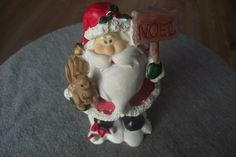 Santa Claus Figurine Holding Squirrel and Noel Sign  ~ Christmas Decorations Red