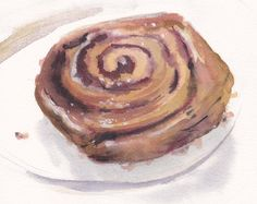 Original watercolor painting / cinnamon roll / cinnamon bun