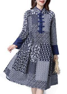 Porcelain Print Long Sleeve Mandarin Collar Dress on sale only US$33.48 now, buy cheap Porcelain Print Long Sleeve Mandarin Collar Dress at lulugal.com