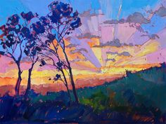 While doing undergraduate work at UC Berkeley, artist Erin Hanson took some time off from studying art to obtain a degree in bioengineering. After graduating she moved to the outskirts of Las Vegas where a climb at Red Rock Canyon inspired her artistic career yet again. She decided to commit to crea