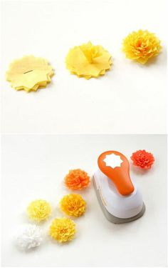 Tissue paper flowers using craft punch How To Make Paper Flowers, Large Paper Flowers, Tissue Paper Flowers, Handmade Flowers, Diy Flowers, Fabric Flowers, Diy Fleur Papier, Diy Paper, Paper Crafts
