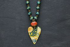 Tin Heart Necklace with Faceted Glass Bead by MusingTreeStudios