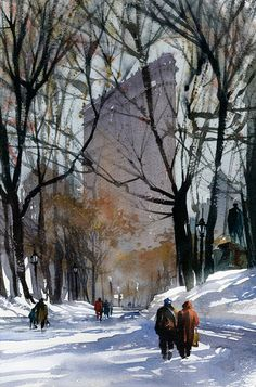 NYC. Snowy Madison Square Park. Nice watercolor by Thomas W. Schaller