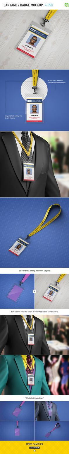 Lanyard / Badge Mockup features:- 4 HQ PSD presentations;- Easy and fast editing…