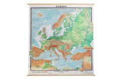Giant Vintage Pull Down Map of Europe - Old New House