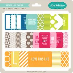 26 patterns in 5 color ways, totalling in 130 Life Cards designed by Lori Whitlock.