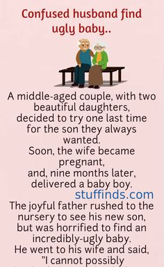 Confused husband find ugly baby.. | Funny Long Jokes, Funny Cartoon Quotes, Clean Funny Jokes, Funny Jokes For Adults, Funny Work, Funny Marriage Jokes, Funny Relationship Jokes, Funny Birthday Jokes, Appreciate Life Quotes