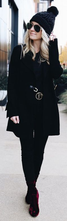 #winter #fashion /  Black Beanie / Black Coat / Black Skinny Jeans / Burgundy Velvet Booties