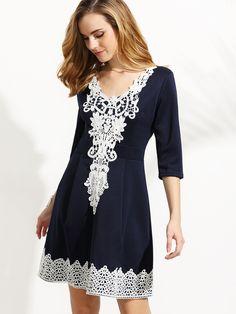Shop Navy V Neck Crochet Applique Box Pleated Dress online. SheIn offers Navy V…