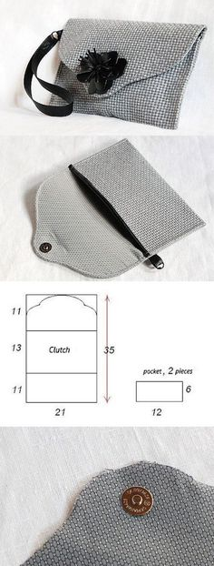How to easy sew a nice small clutch bag? You can see it here… Purse Patterns, Sewing Patterns, Clutch Bag Pattern, Wallet Pattern, Sewing Tutorials, Sewing Projects, Clay Tutorials, Sewing Hacks, Pochette Diy
