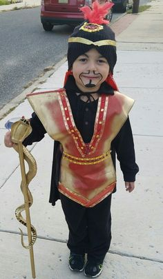 """Disney's jafar costume.  I bought a ninja costume from the dollar store and spray painted it and hot glued ribbon and jewels around it.. the Cape was a plain black one from dollar store. the staff I bought a """"pimp stick"""" from the Halloween store spray painted it gold and zip tied a plastic snake that I found in his toybox around it, then glued 2 red jewels as eyes. Jafar Costume, Aladdin Costume, Diy Costumes, Halloween Costumes For Kids, Costume Ideas, Aladdin Musical, Red Jewel, Diy Hat, Arabian Nights"""