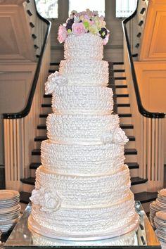 7 tier Fondant ruffled wedding cake