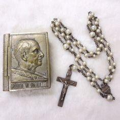 VINTAGE PAULUS VI PONT. MAX. BOOK Trinket Box Sterling Silver Faux Pearl Rosary