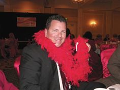 Even Dr. McComb got into the donating spirit and received a red boa!